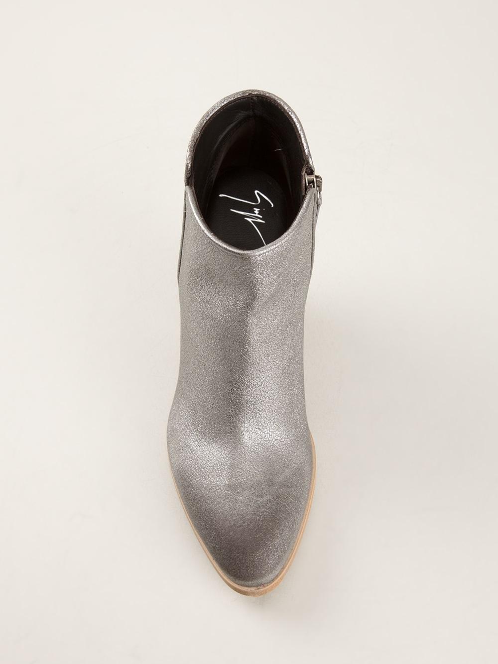 Giuseppe Zanotti Chunky Heel Ankle Boot in Metallic