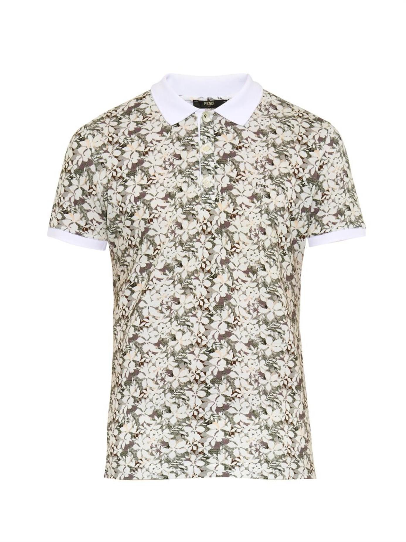 6d4fb5249f Fendi Black Floral-print Cotton-piqué Polo Shirt for men