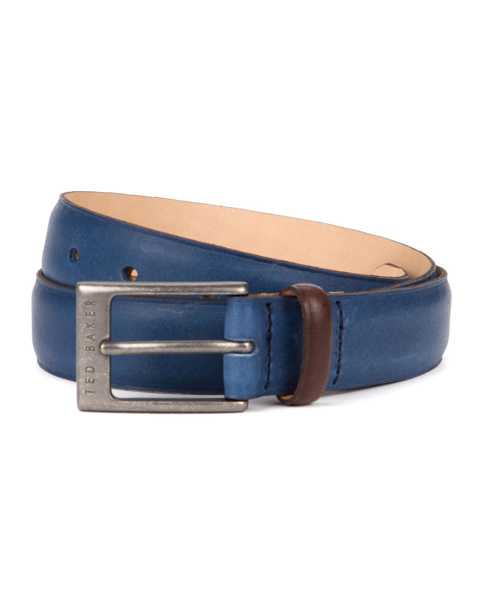5bfc4e2b1faf Ted Baker Color Block Leather Belt in Blue for Men - Lyst