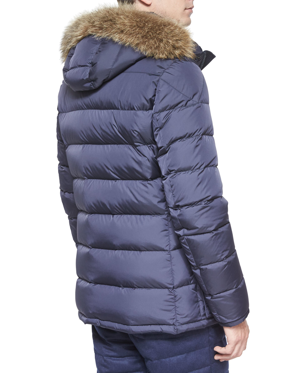 46fb9ba83 Moncler Blue Cluny Nylon Puffer Jacket With Fur Hood for men