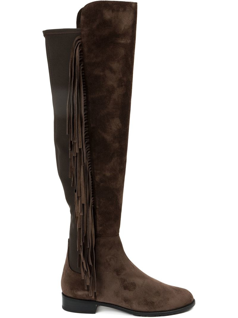 stuart weitzman fringed knee high boots in brown lyst
