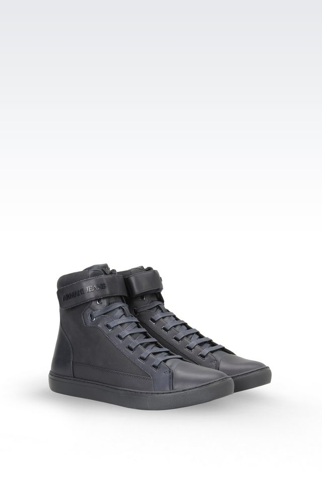 armani jeans high top sneaker in nubuck in gray for men lyst. Black Bedroom Furniture Sets. Home Design Ideas