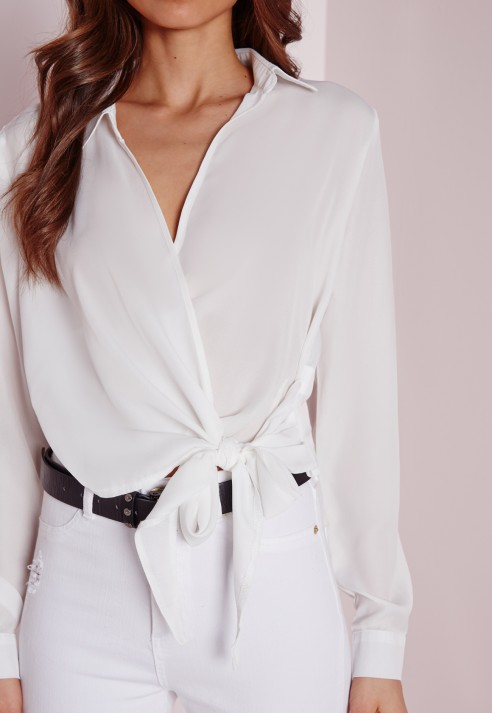 Missguided Wrap Over Tie Side Blouse Ivory in White | Lyst