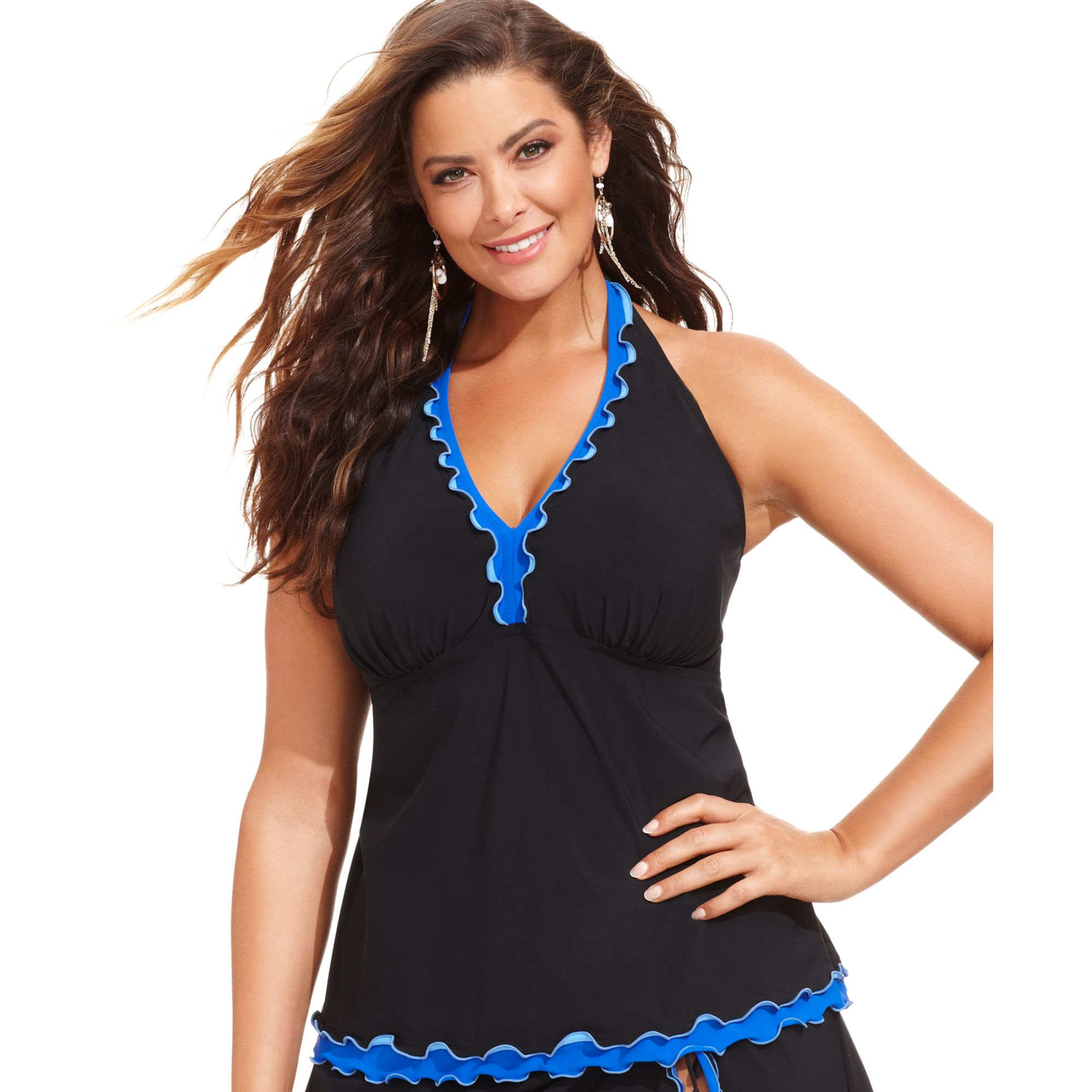 Plus size halter top swim dress