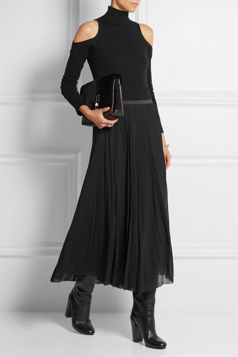 donna karan cutout cashmere blend turtleneck sweater in. Black Bedroom Furniture Sets. Home Design Ideas