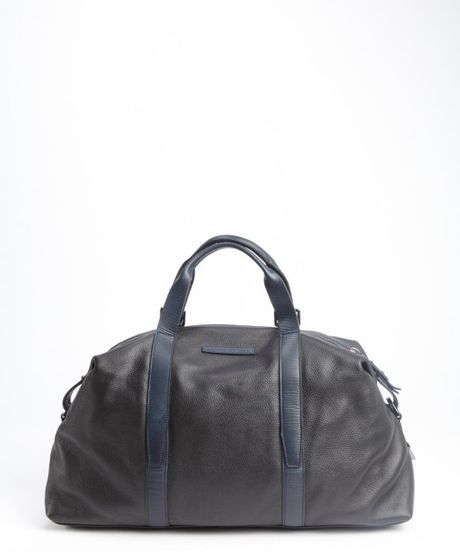 ... Black And Blue Navy Leather 'Barrett' Weekender Bag in Black for Men