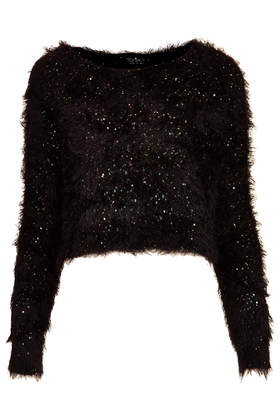 Topshop Knitted Sequin Fluffy Jumper in Black | Lyst