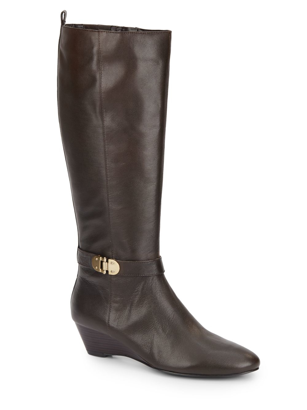 bandolino adanna leather wedge boots in brown lyst