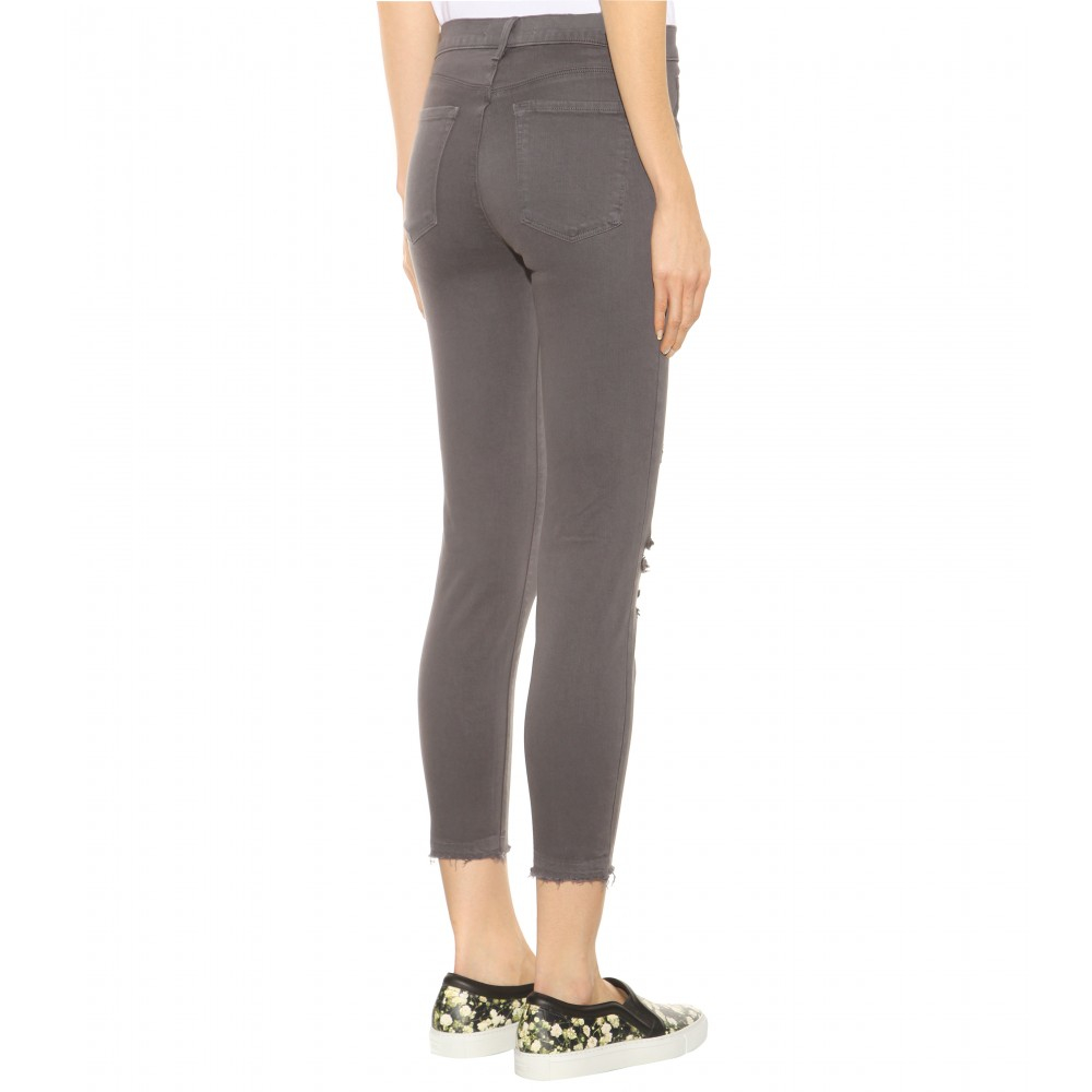 J Brand Cropped Low Rise Distressed Skinny Jeans in Grey