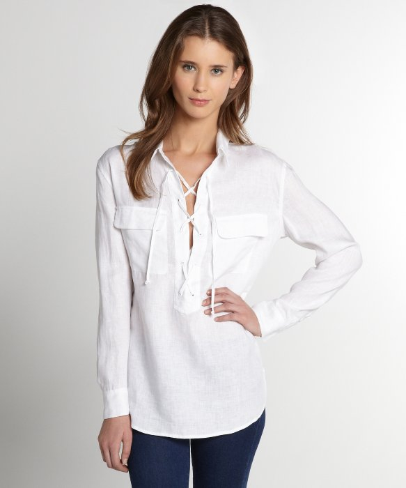 Equipment Linen Knox Lace Up Long Sleeve Blouse in White | Lyst