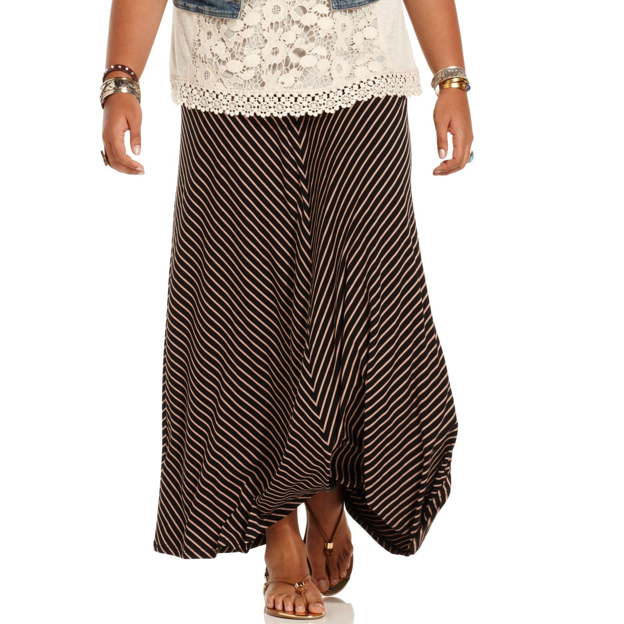 american rag plus size striped maxi skirt in black