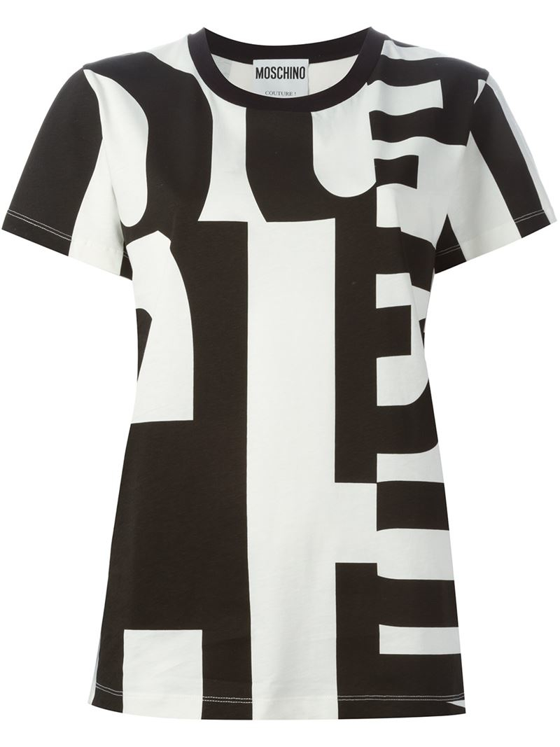 Lyst moschino letter print t shirt in black for Letter print t shirt