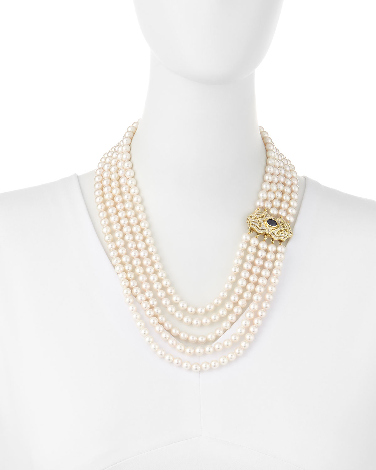 belpearl layered multi strand akoya pearl necklace w