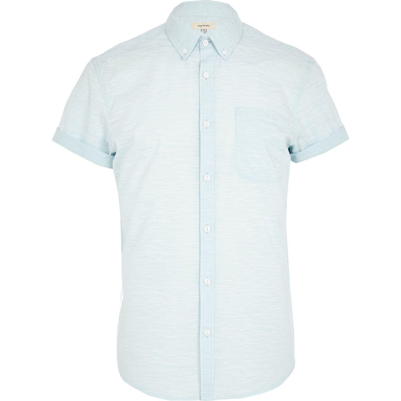 River Island Light Blue Space Dye Short Sleeve Shirt In