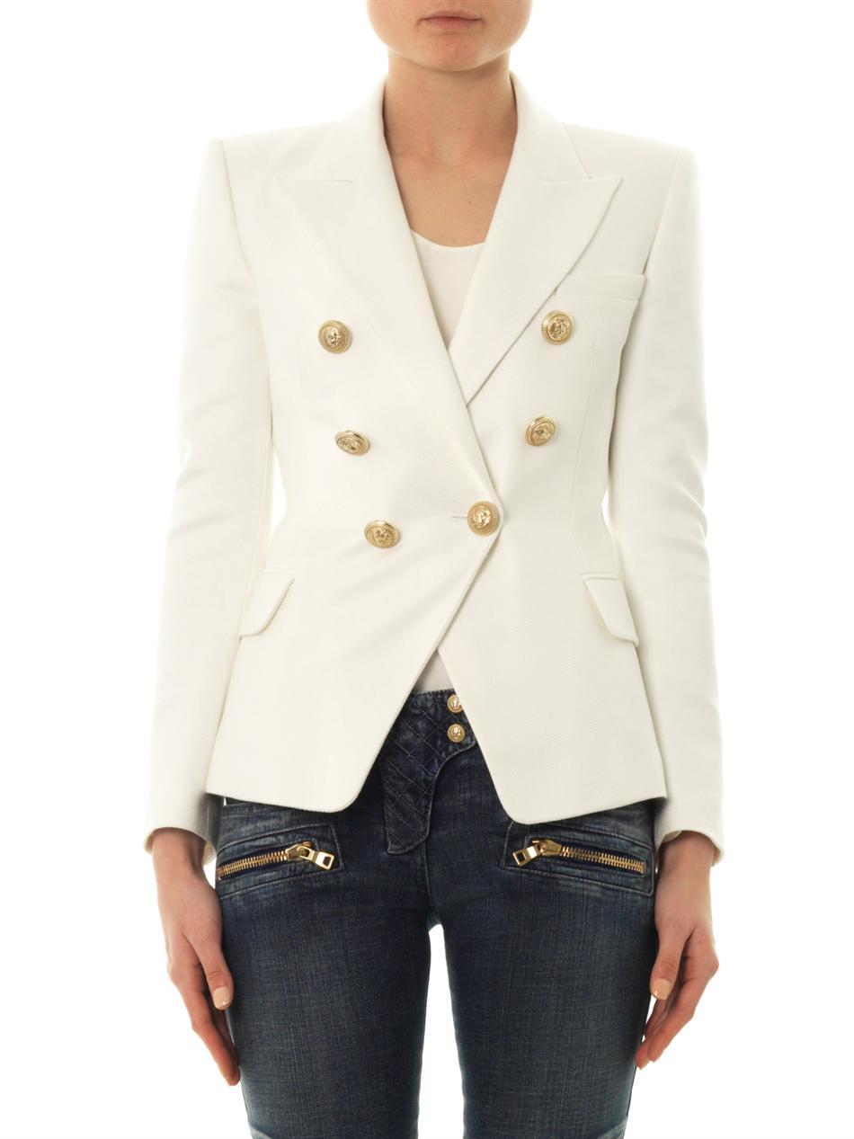 ecd6aab9 Balmain Cotton and Silkblend Blazer in White - Lyst