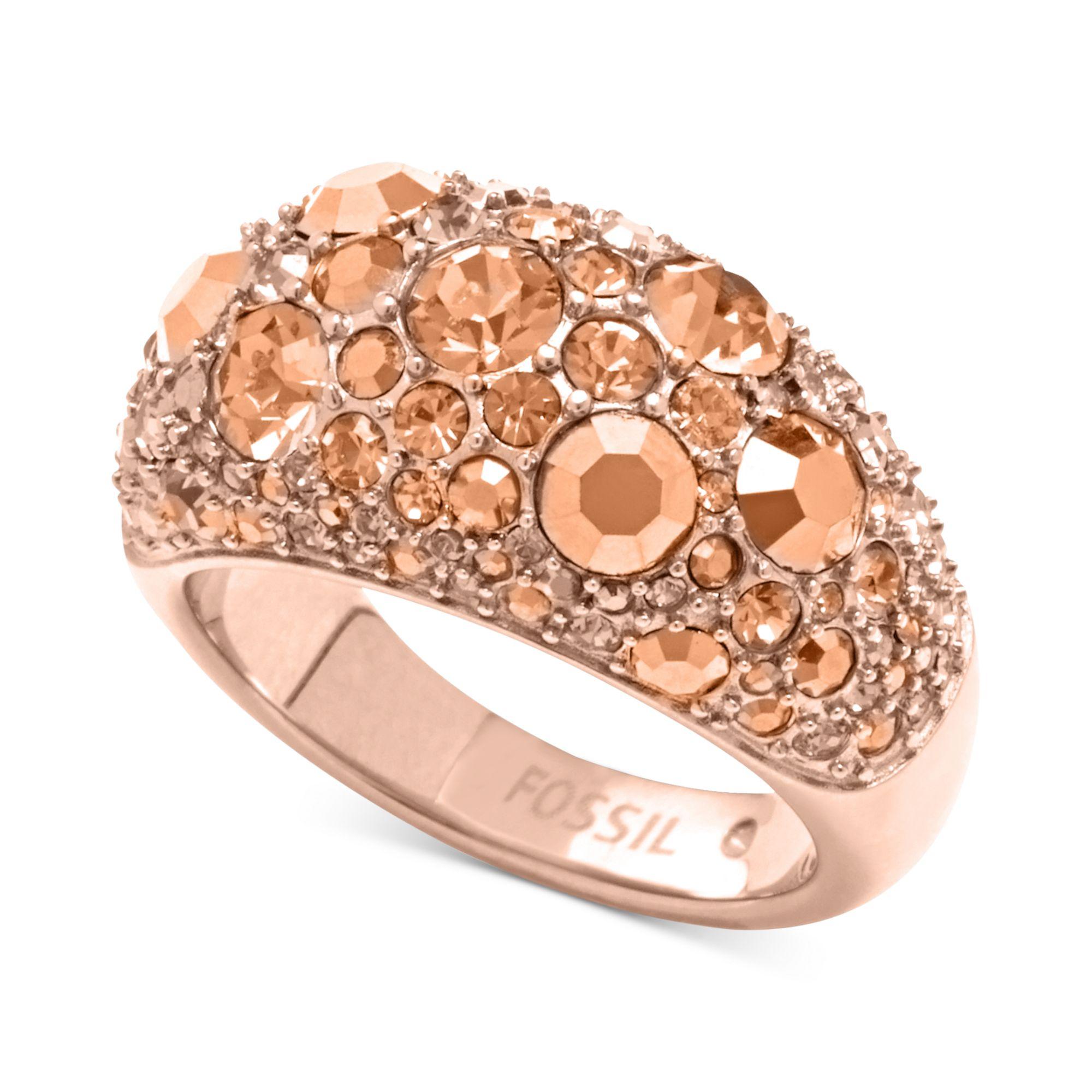 fossil rose goldtone crystal pave dome ring in pink rose lyst. Black Bedroom Furniture Sets. Home Design Ideas