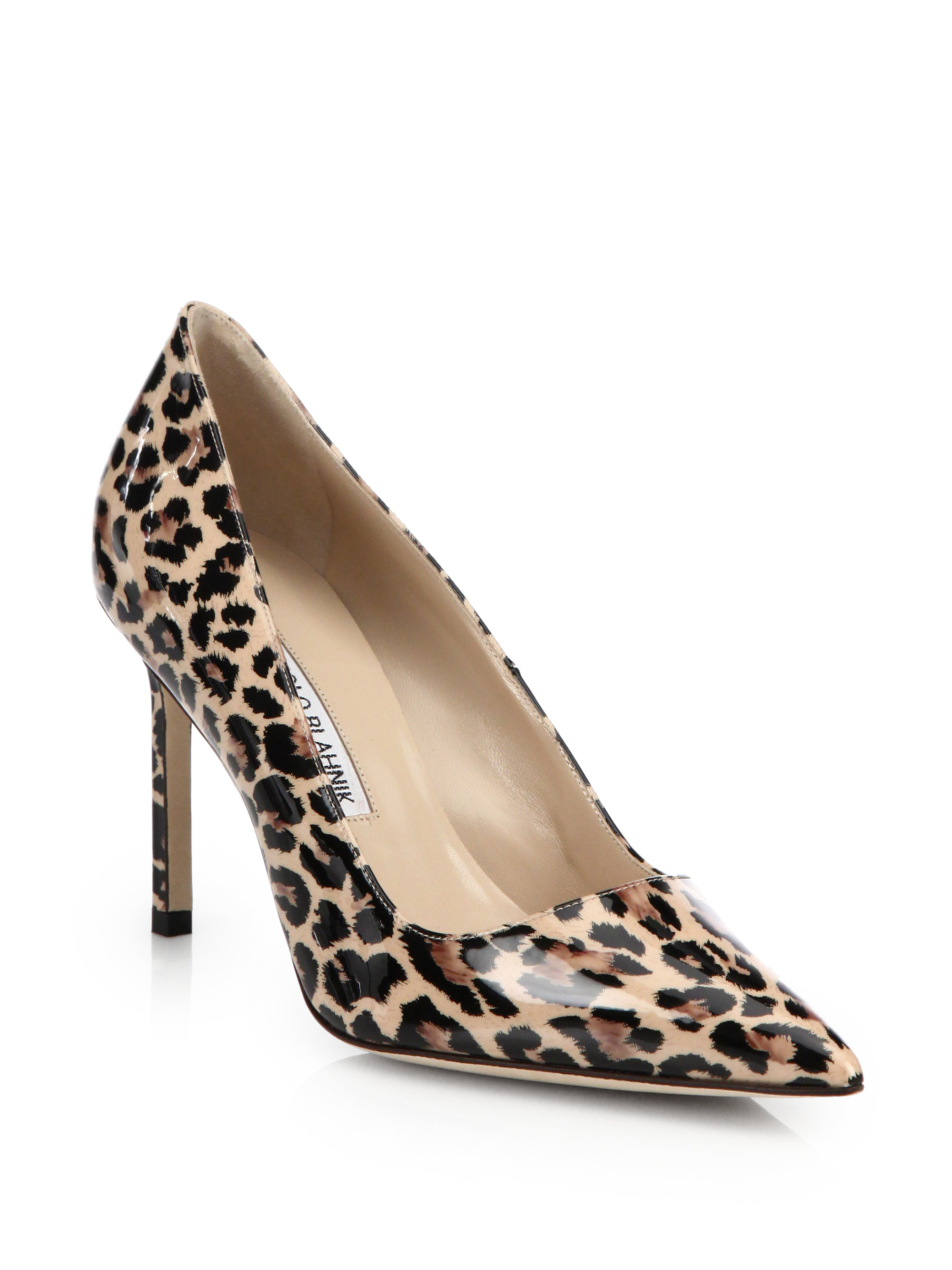 9e5851e26b0 Manolo Blahnik Multicolor Bb 90 Leopard Print Patent Leather Point-toe Pumps