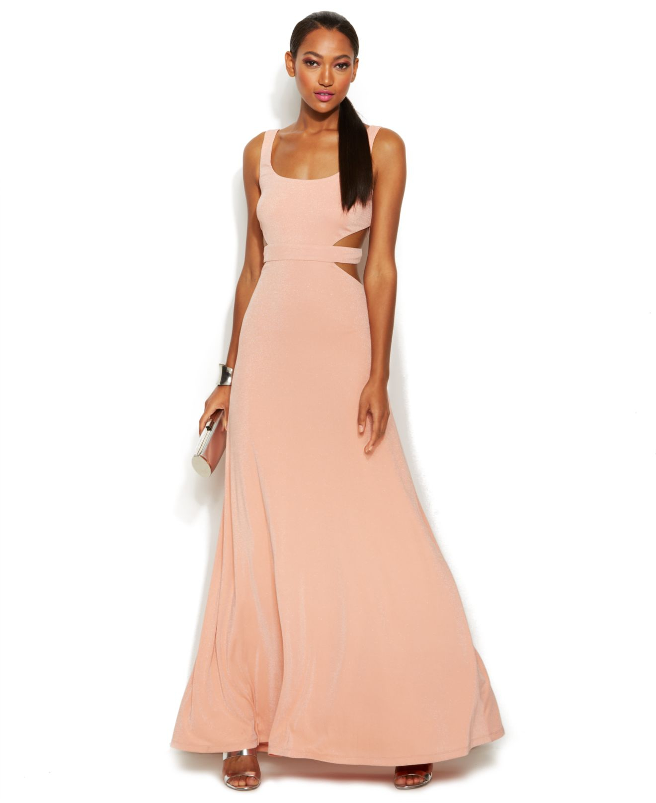 Calvin Klein Wedding Gowns: Calvin Klein Sleeveless Sparkle Cutout Gown In Pink