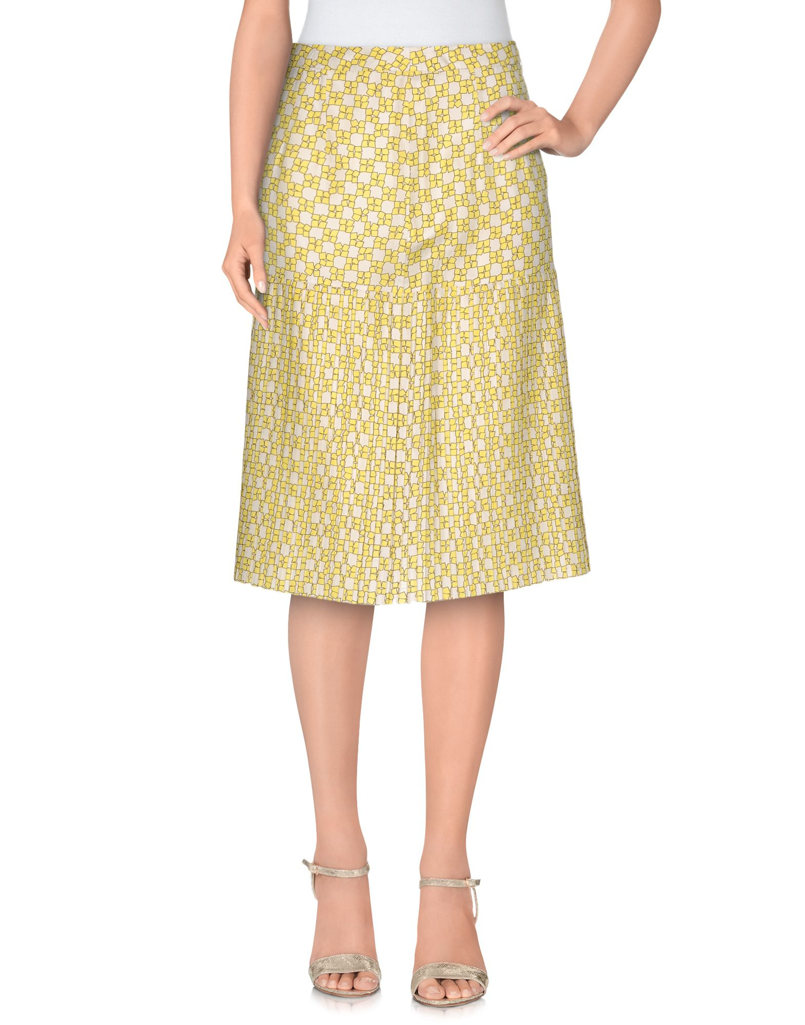 marni knee length skirt in yellow lyst