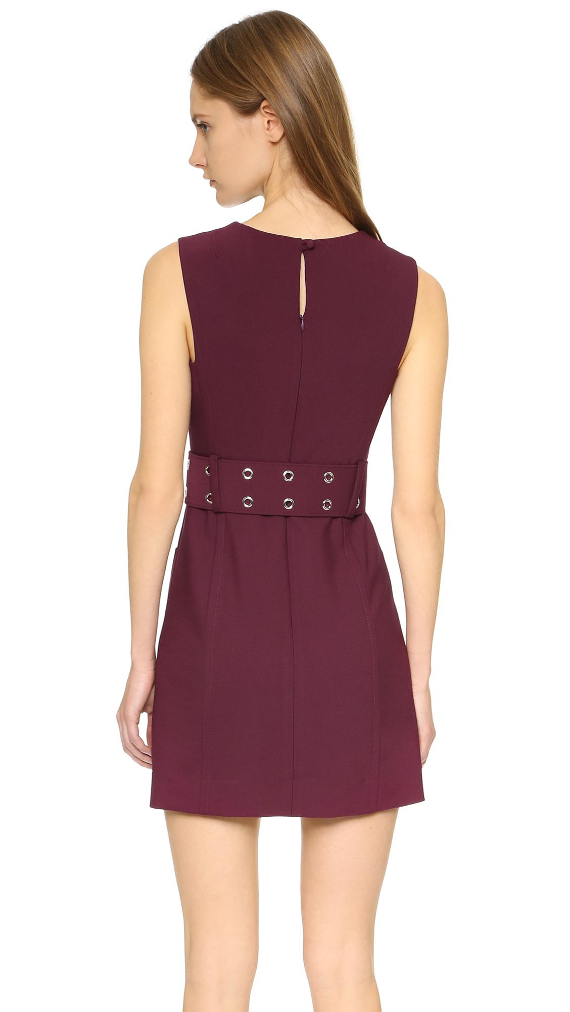 Milly Belted Mini Dress In Purple Lyst