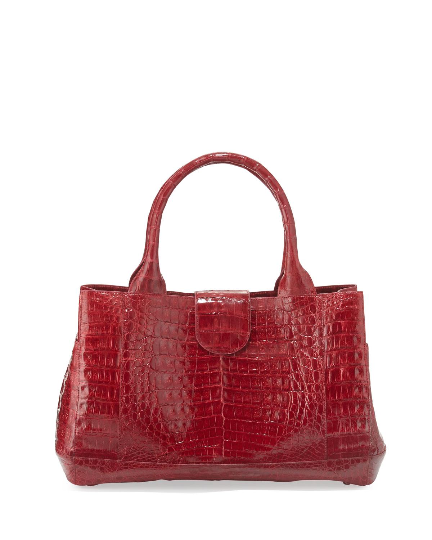 Lyst nancy gonzalez crocodile rectangle tote bag in red for Nancy gonzalez crocodile tote