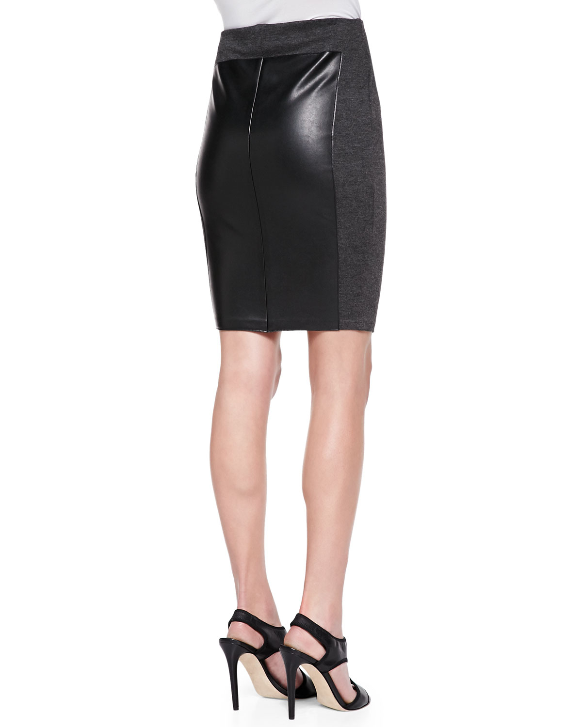 bailey 44 ski patrol knit faux leather skirt in black lyst