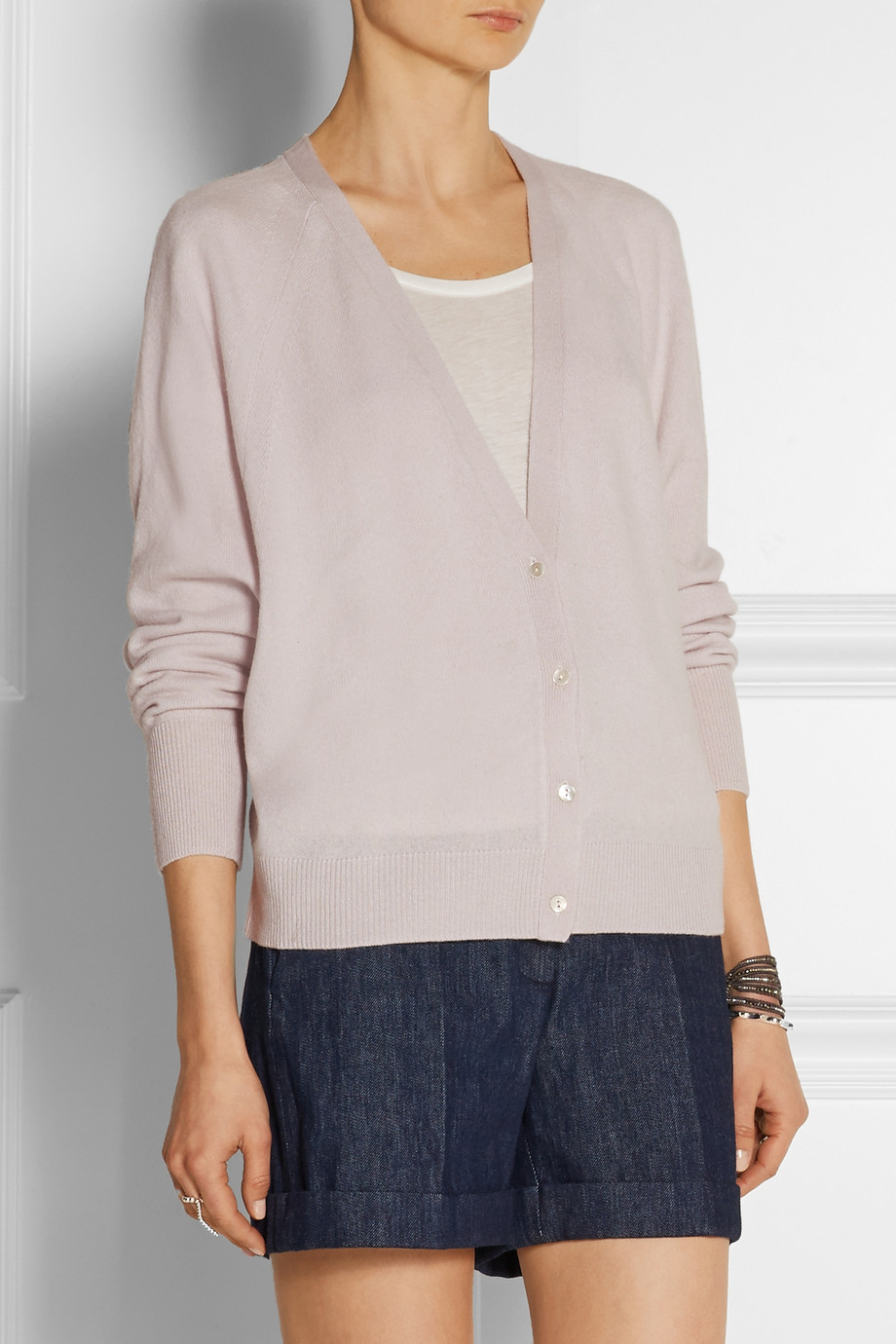 Duffy Cropped Cashmere Cardigan in Brown   Lyst