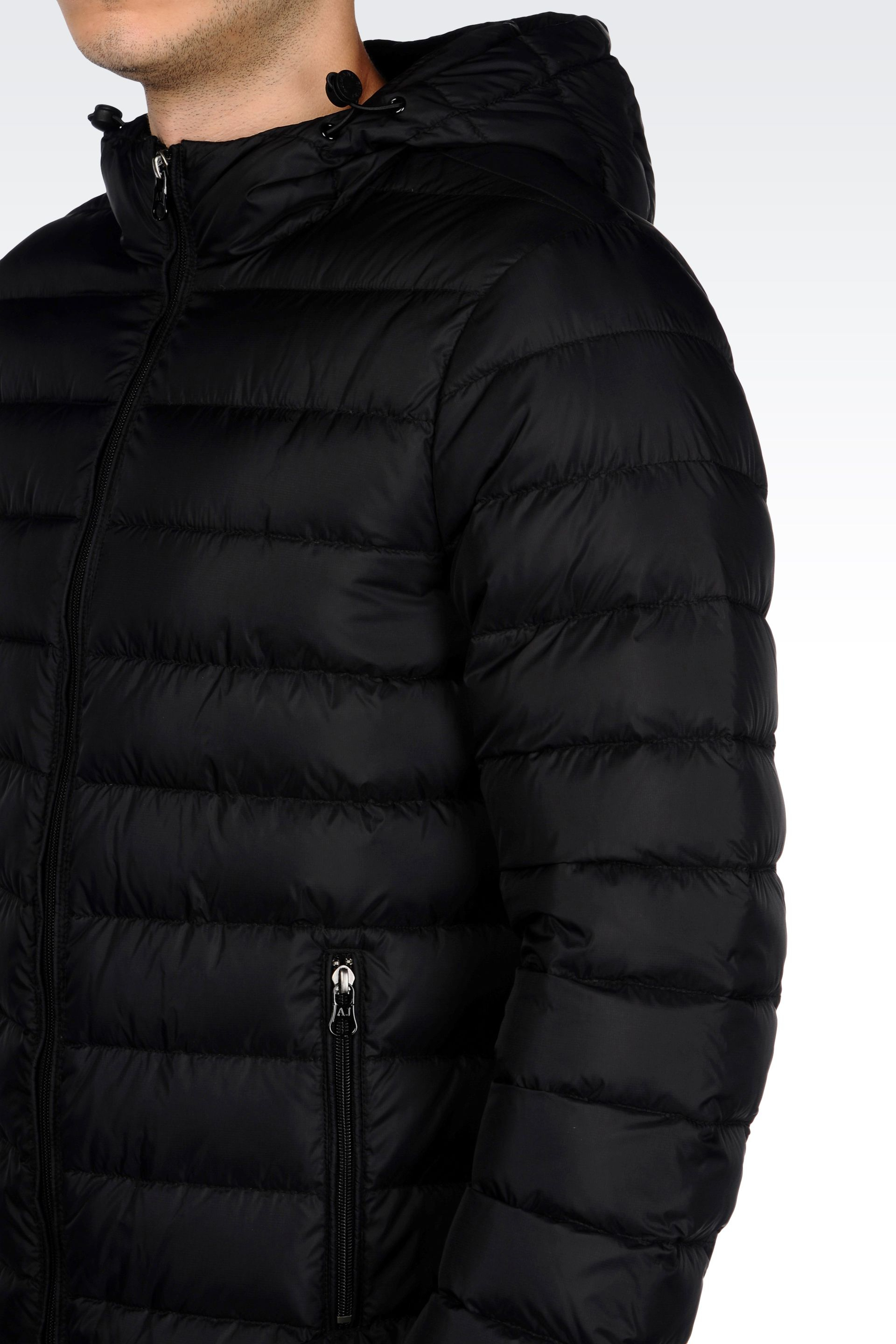 Lyst - Armani Jeans Hooded Down Jacket In Technical Fabric in Black ... a37f05d4c