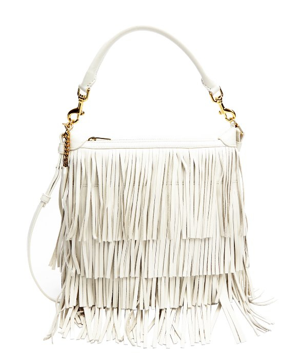 Emmanuelle Small Leather Fringe Hobo Bag, White