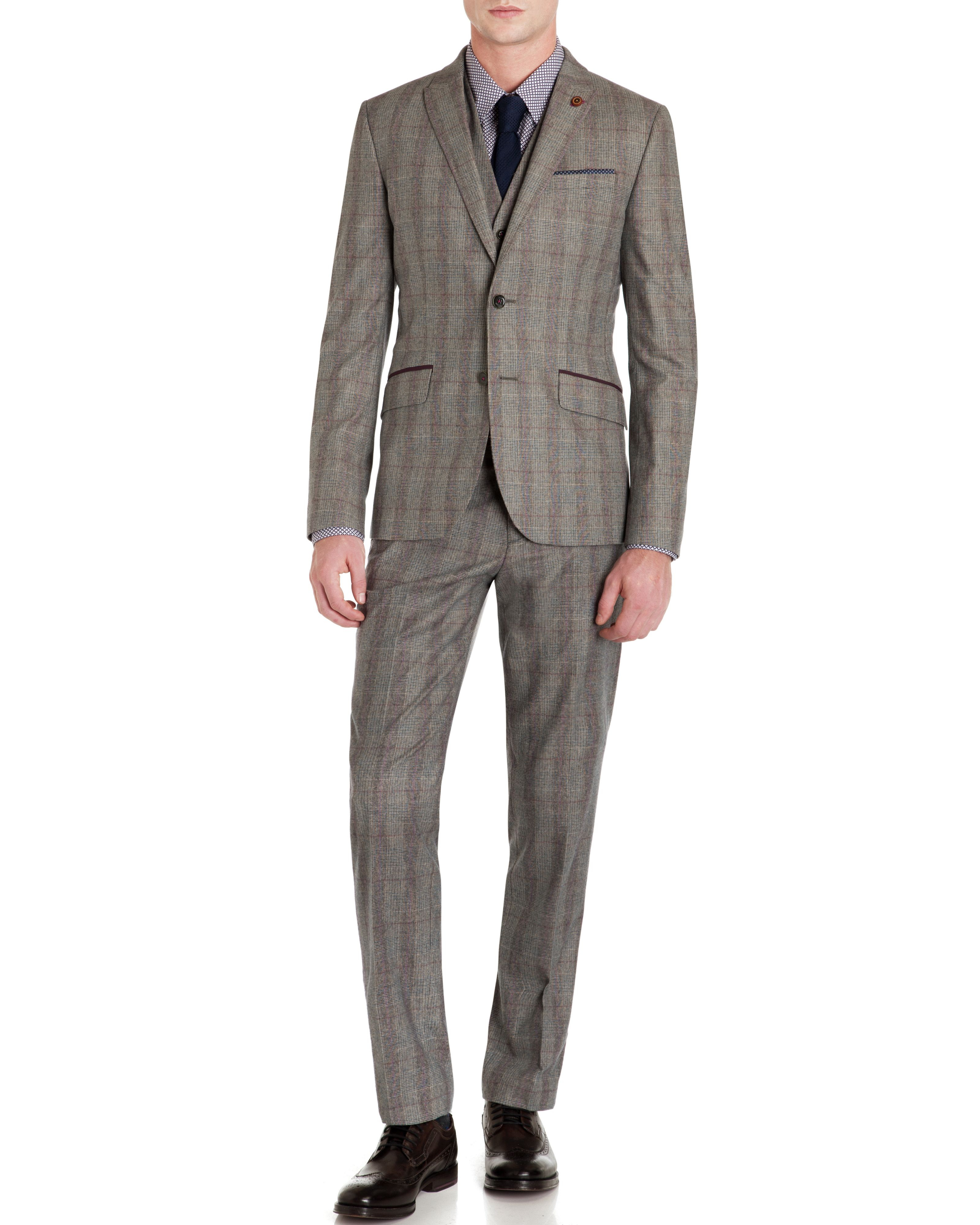 Ted Baker Pypar Check Wool Blazer in Purple (Grey) for Men