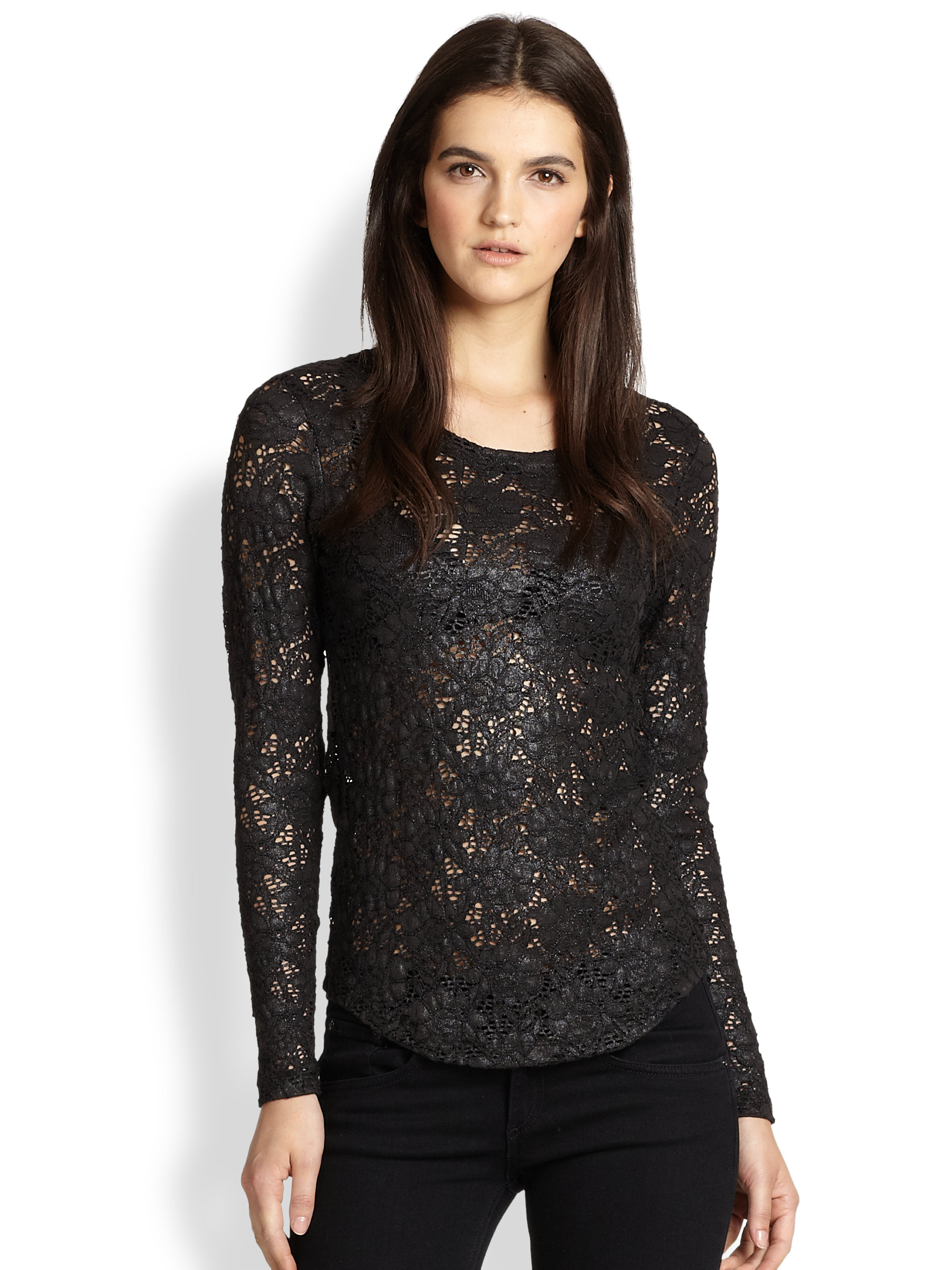 Product Description: Fashion charming long sleeve tee features lace panel collar and cuff, heap up front and simple black. - Slim fit silhouette.
