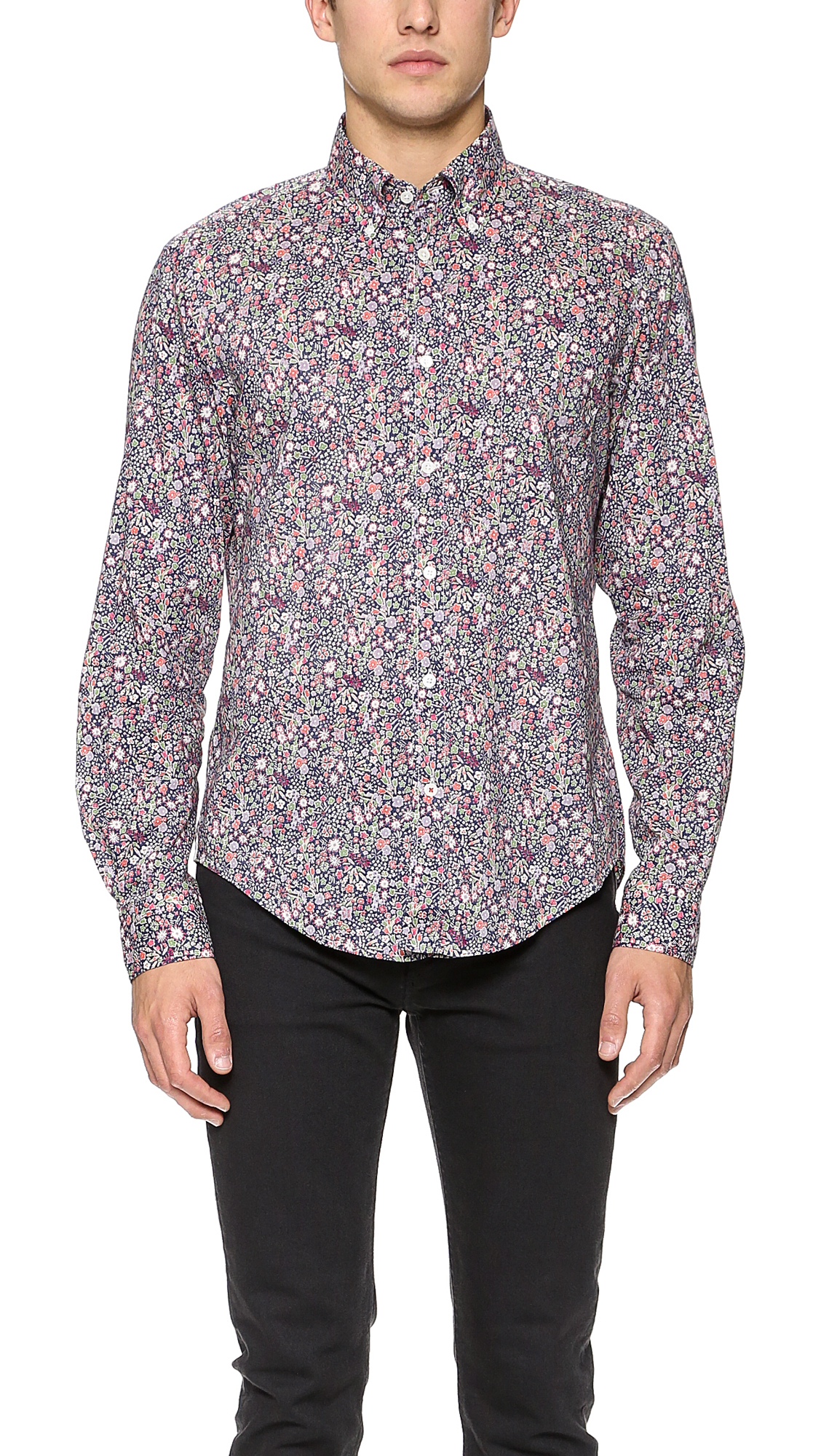 Lyst hartford liberty floral shirt in blue for men for T shirt printing hartford ct