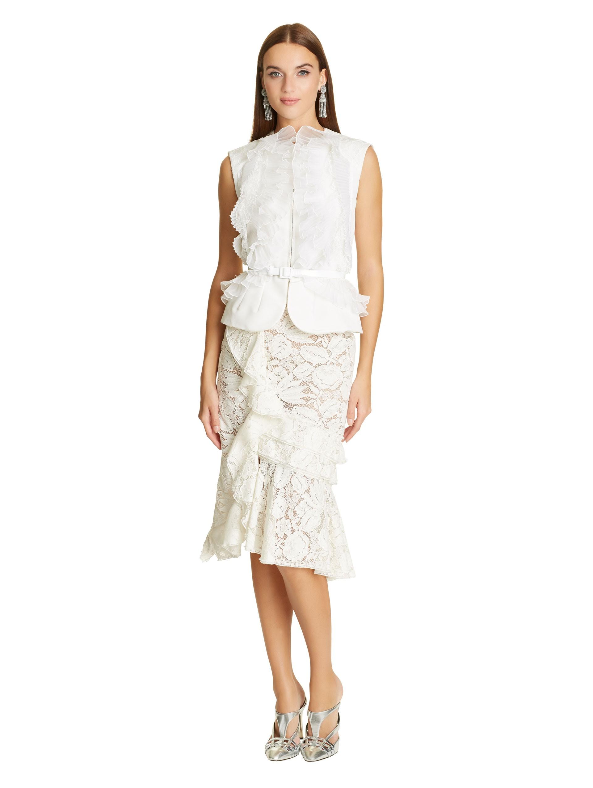 12666a6f4 Oscar de la Renta Ivory Organza & Lace Ruffle Detail Silk Faille ...
