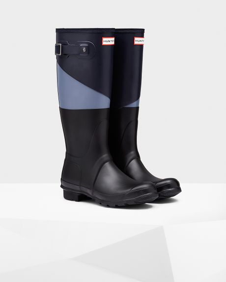 Hunter Womens Asymmetric Color Block Rain Boots In Purple Midnight