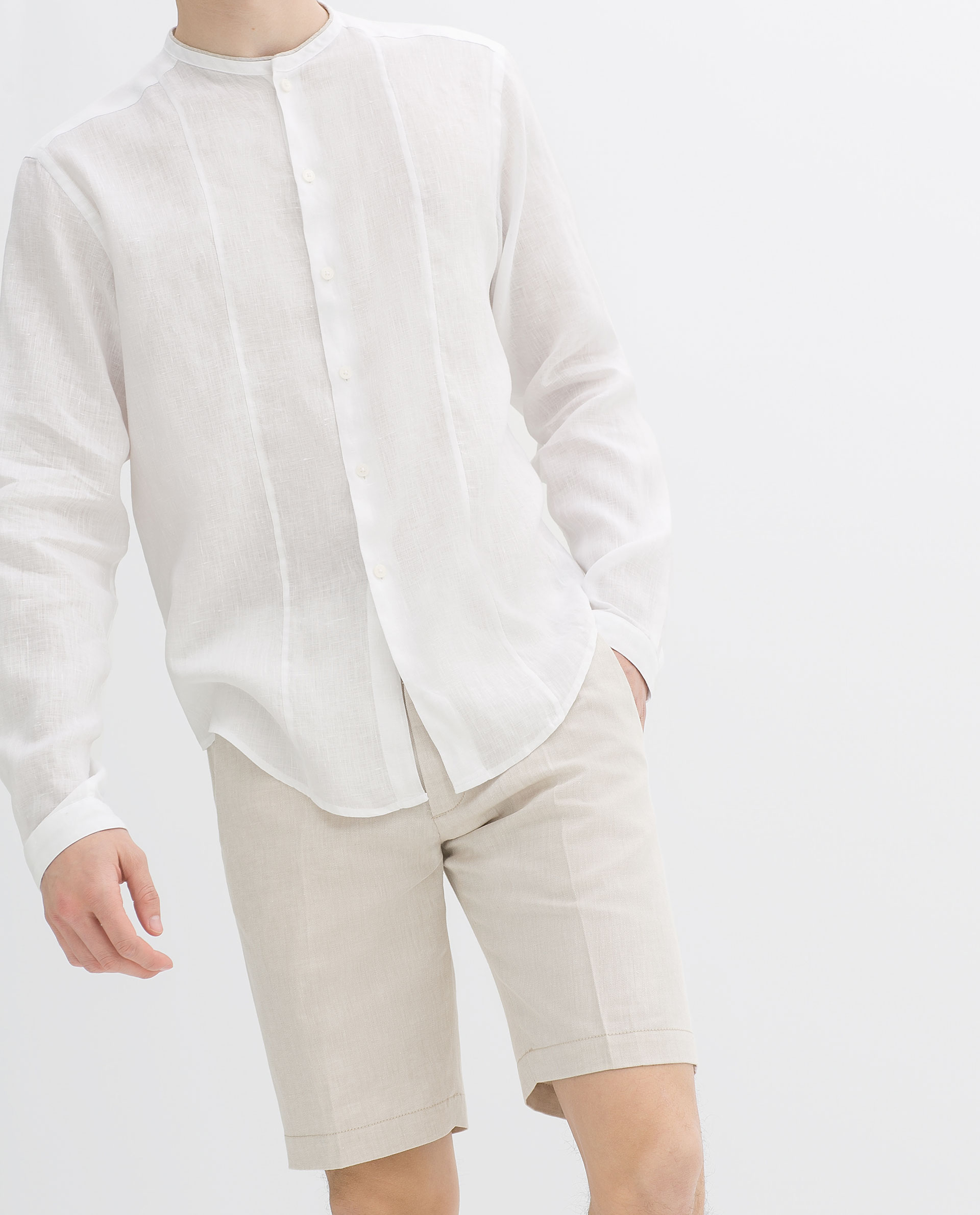 Zara Linen Collarless Shirt with Piping in White for Men | Lyst