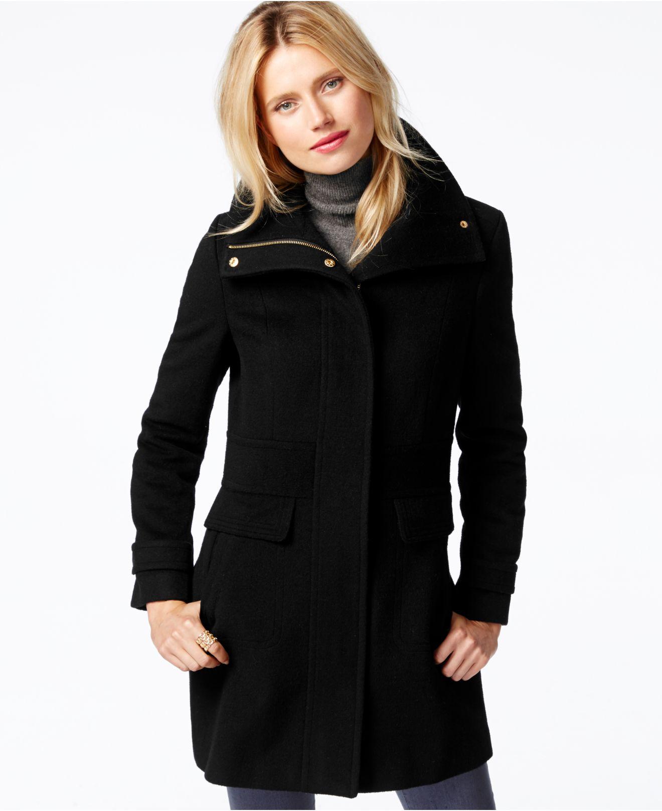 Cole haan Zip-front Walker Coat in Black | Lyst