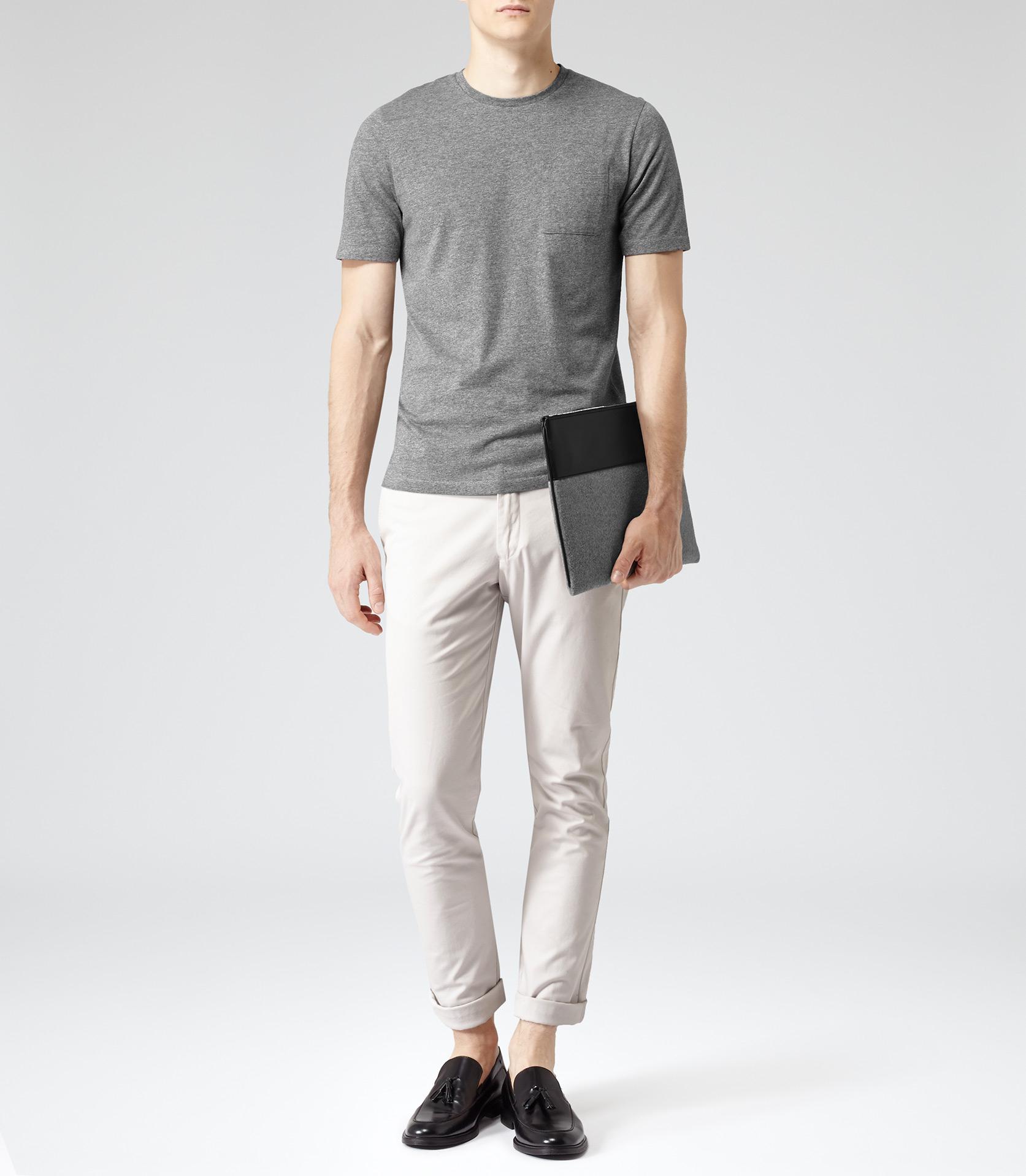 Lyst reiss azera horizontal stripe t shirt in gray for men for Horizontal striped dress shirts men