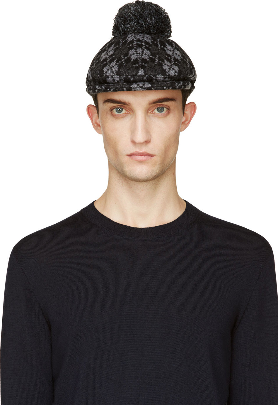 Lyst - Moncler Gamme Bleu Black and Grey Argyle Pompom Golf Cap in ... c3d3ed55db1