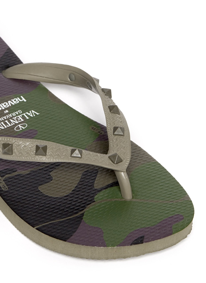 Valentino X Havaianas Studded Flip Flop In Green For Men -1617