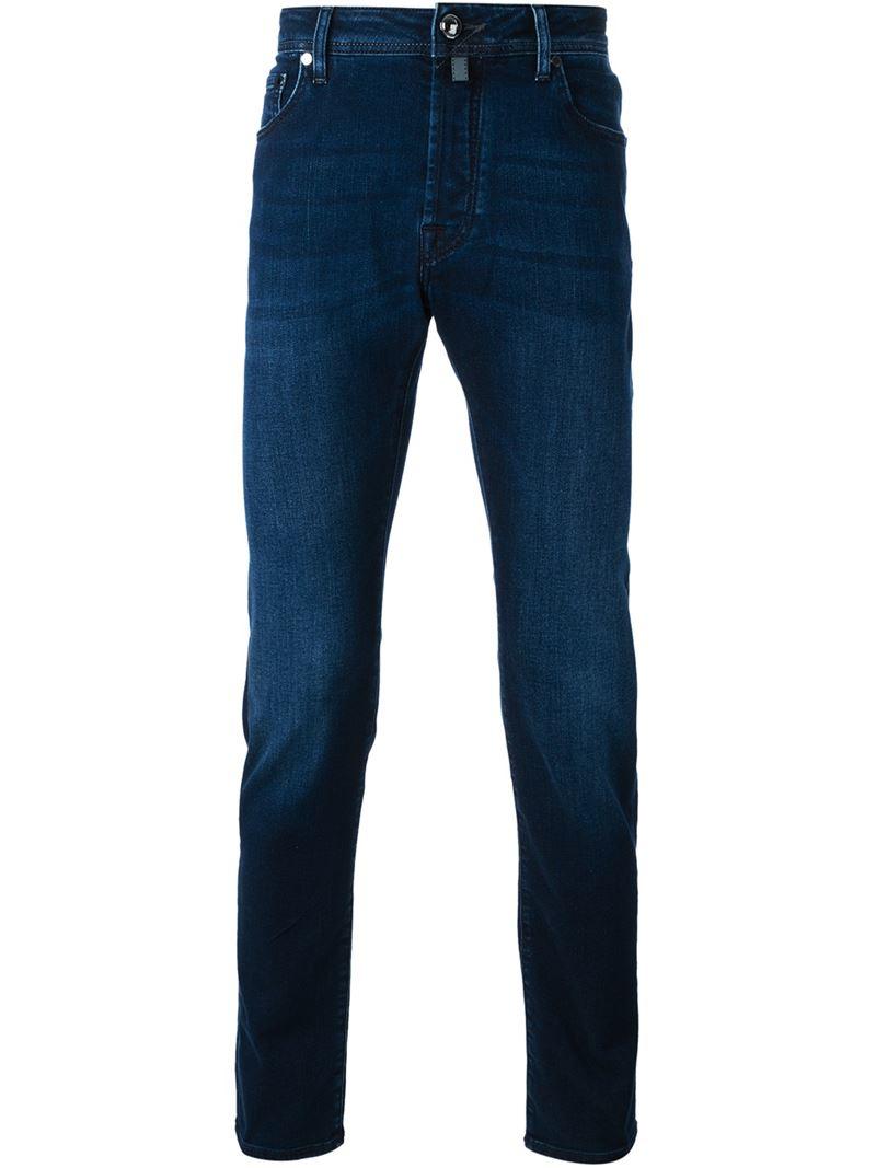 Lyst jacob cohen tailored stretch denim jeans in blue - Jacob cohen denim ...
