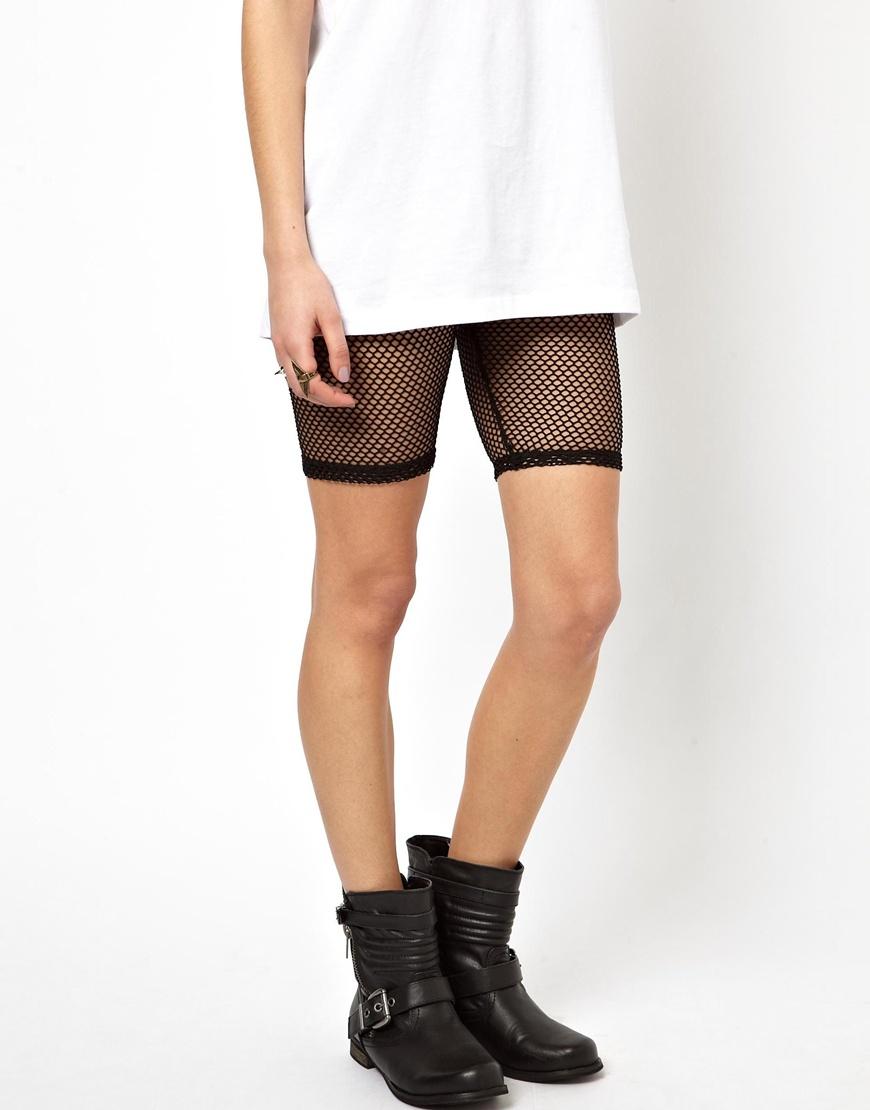 Lyst - Asos Fishnet Legging Shorts in Black