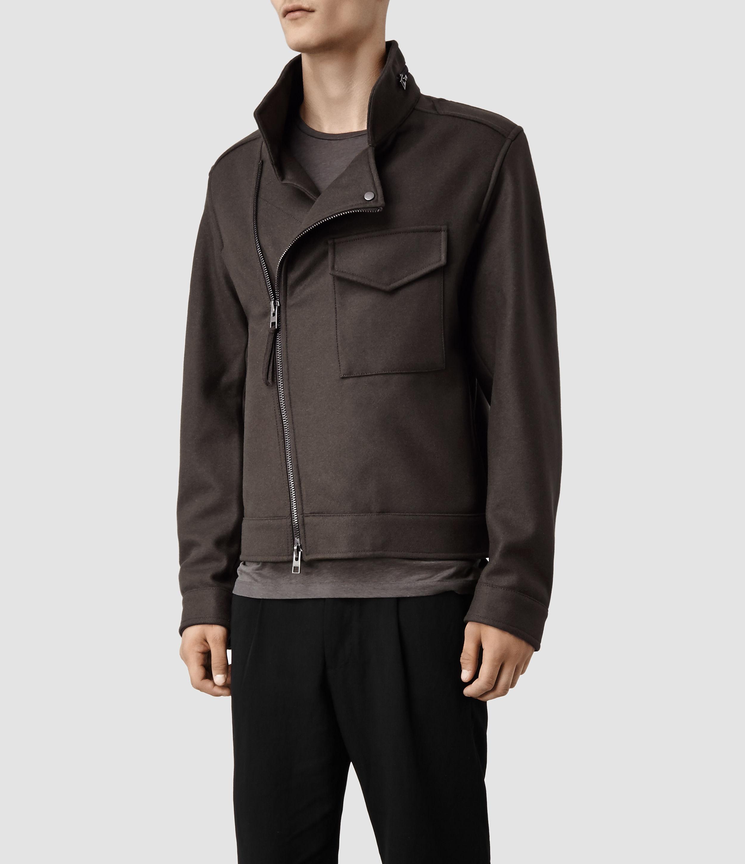 AllSaints Bayard Biker Jacket in Khaki (Brown) for Men