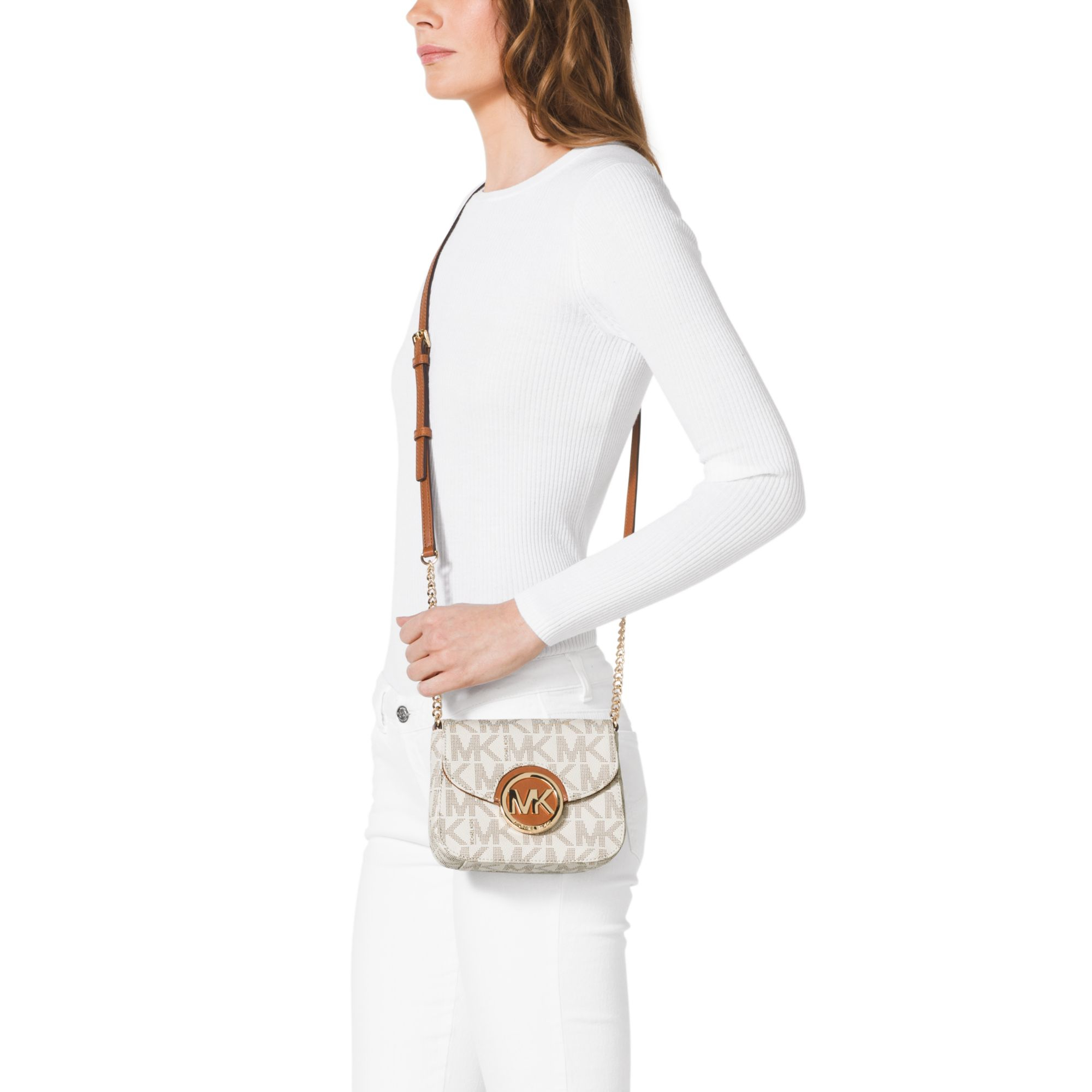 michael kors fulton small crossbody in white lyst. Black Bedroom Furniture Sets. Home Design Ideas