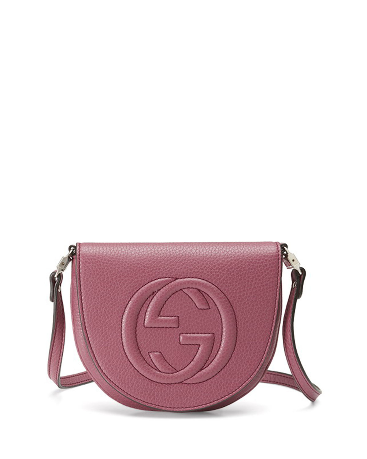 8ff21245f11eaa Gucci Logo-Stitched Leather Messenger Bag in Pink - Lyst