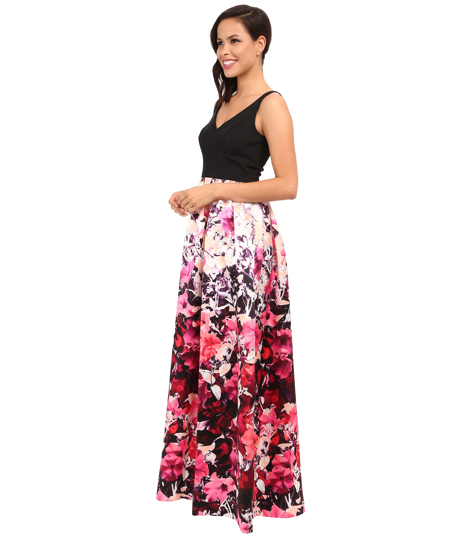 Adrianna Papell Synthetic Sleeveless Floral Dress Lyst