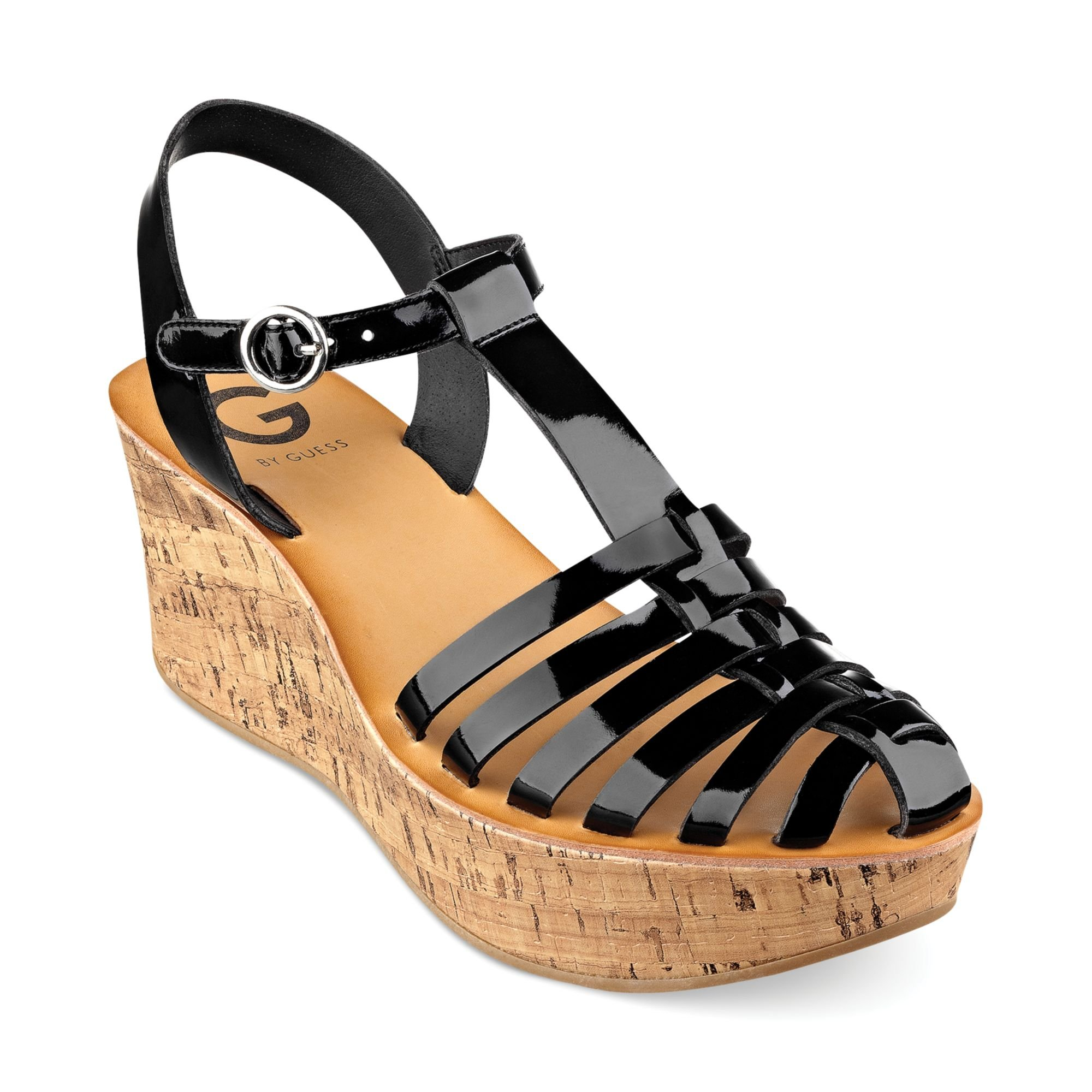 g by guess womens yezmin platform wedge sandals in black