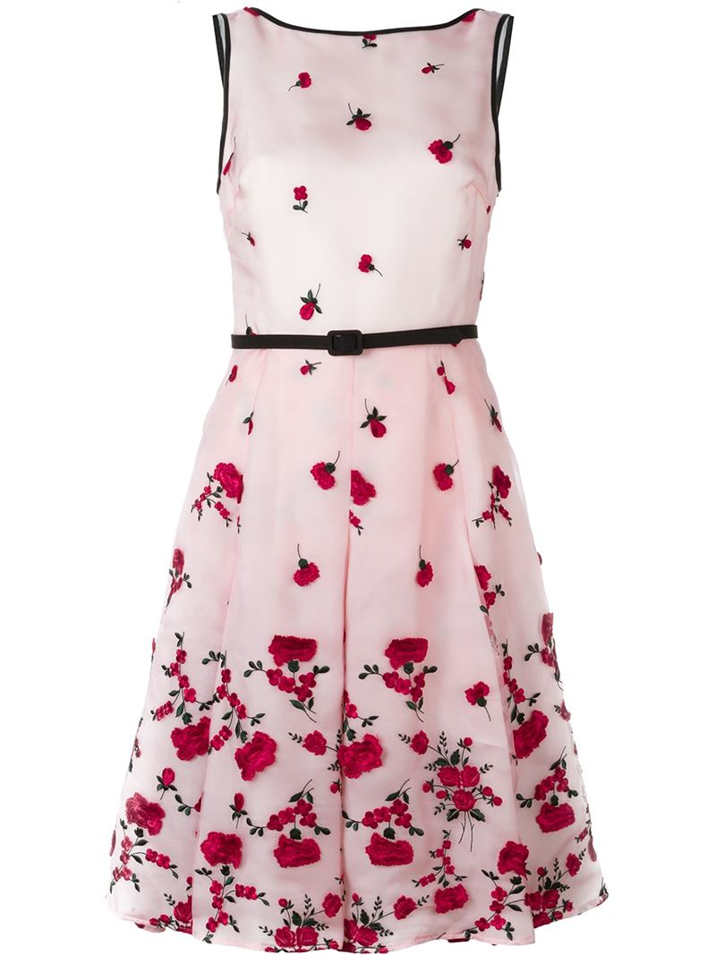 Lyst oscar de la renta floral embroidered dress