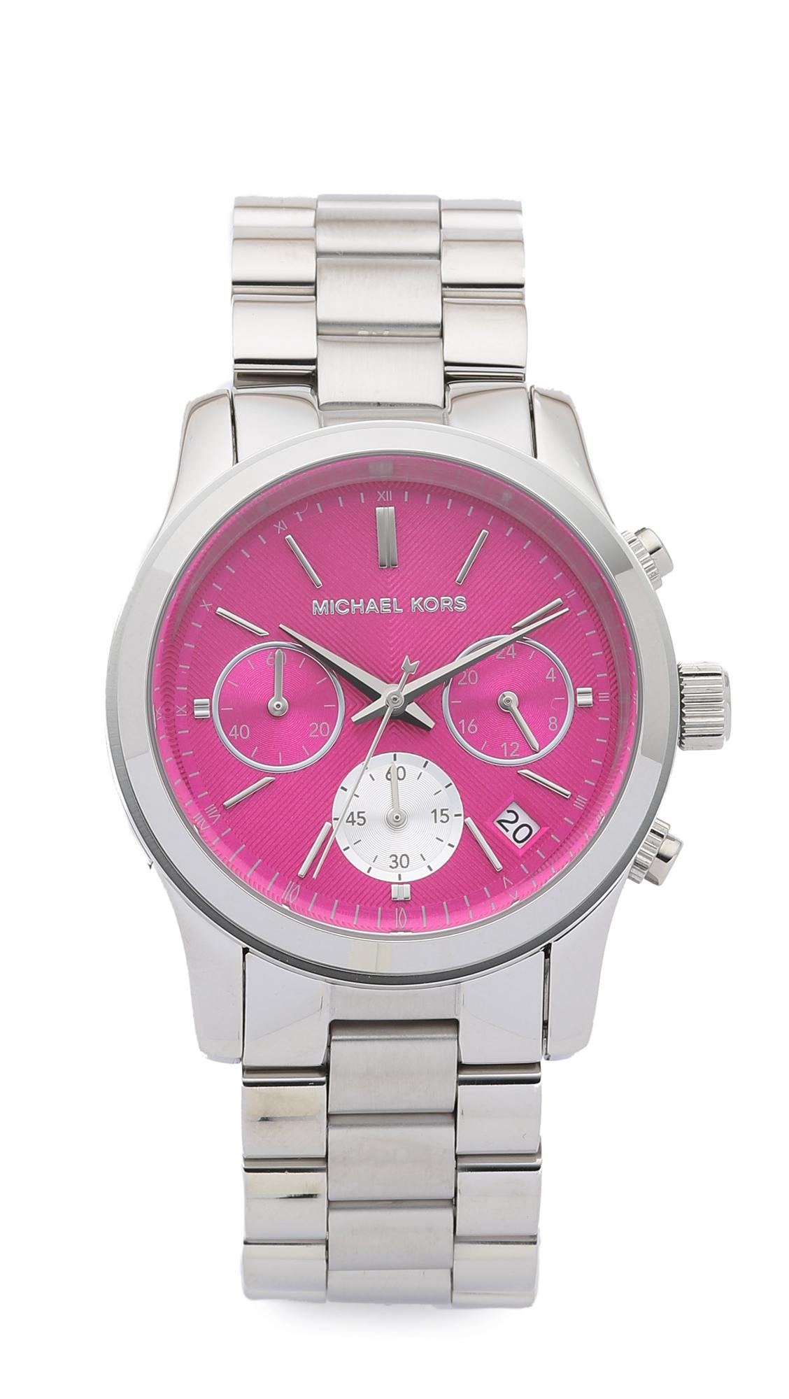 6e4ed018ea47 Michael Kors Runway Watch - Silver pink in Metallic - Lyst