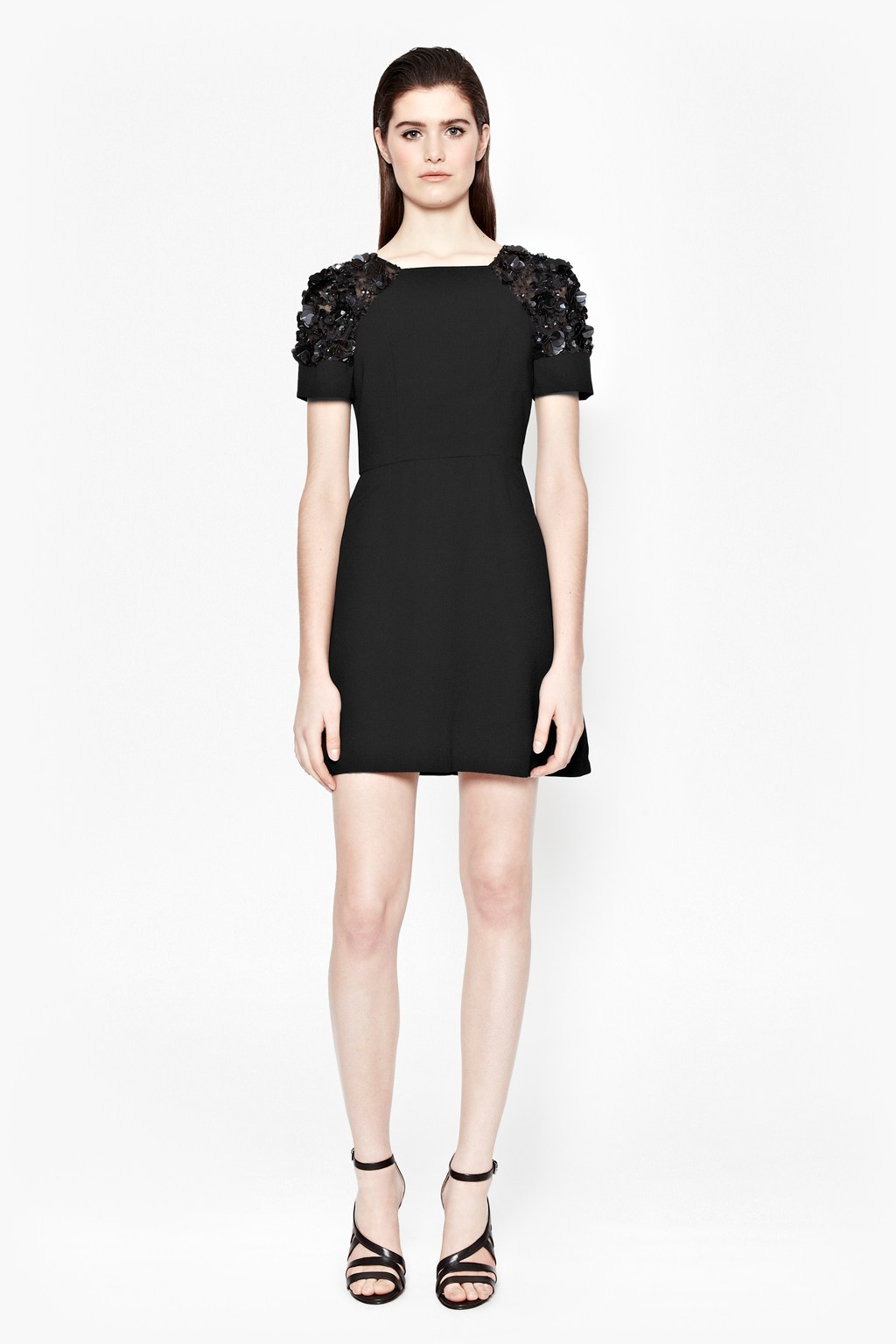 French connection cassin flower embellished dress in black for French connection shirt dress