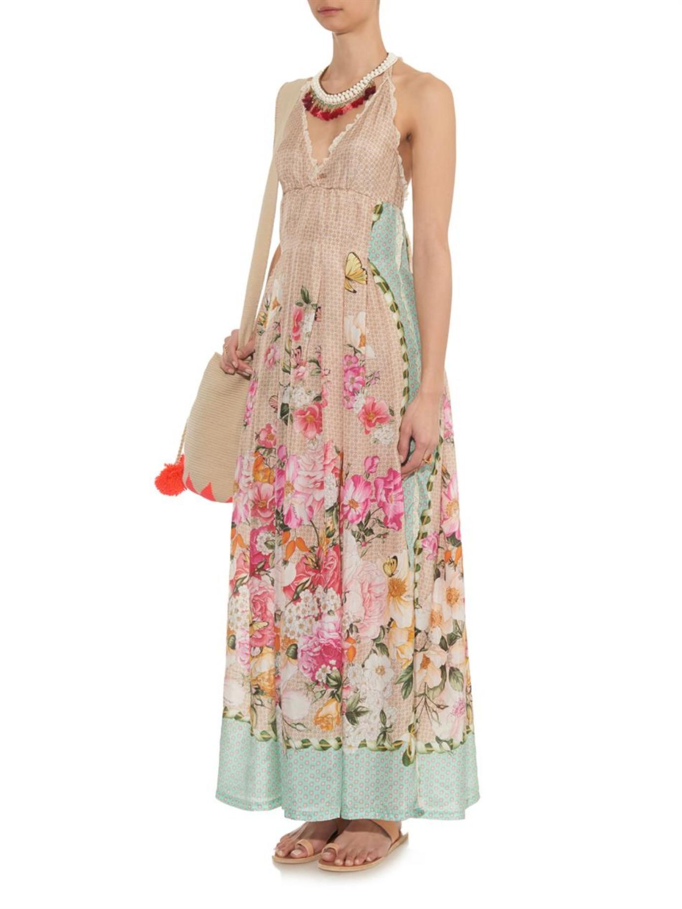 c2afc0141d9 Emamó Floral And Butterfly-print Silk Maxi Dress - Lyst